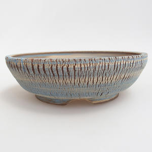Ceramic bonsai bowl 19,5 x 19,5 x 6 cm, blue-yellow color