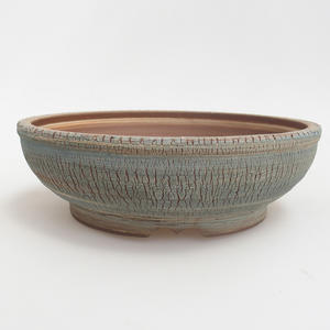 Ceramic bonsai bowl 21 x 21 x 6,5 cm, blue-yellow color