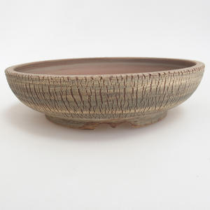 Ceramic bonsai bowl 21 x 21 x 5,5 cm, brown-green color