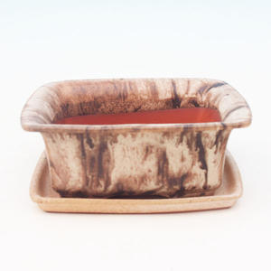 Bonsai bowl H1 - 11,5 x 10 x 4,5 cm, 1 x 9,5 x 1 cm, brown - 11,5 x 10 x 4,5 cm, tray 1 x 9,5 x 1 cm