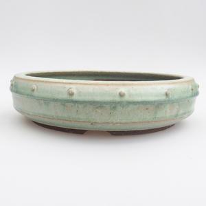 Ceramic bonsai bowl - 24 x 24 x 6 cm, color green