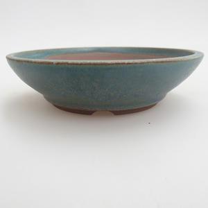 Ceramic bonsai bowl 12 x 12 x 3,5 cm, color green