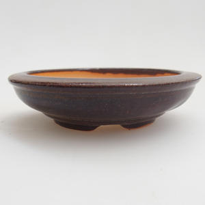 Ceramic bonsai bowl 8 x 8 x 2 cm, brown color