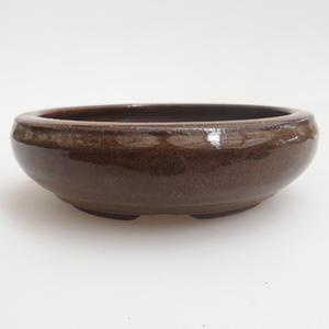 Ceramic bonsai bowl 11,5 x 11,5 x 3,5 cm, color brown