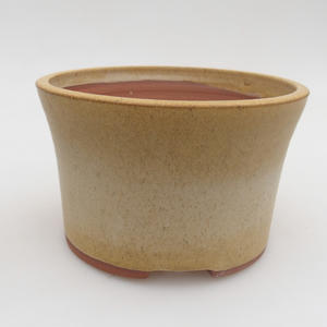 Ceramic bonsai bowl 13 x 13 x 8 cm, yellow color