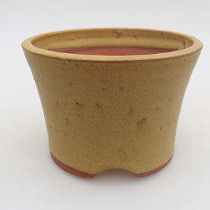Ceramic bonsai bowl 10 x 10 x 7 cm, yellow color