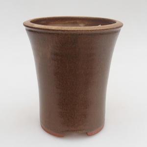Ceramic bonsai bowl 10 x 10 x 12,5 cm, brown color