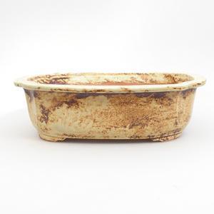 Ceramic bonsai bowl 25 x 21 x 7,5 cm, brown-yellow color