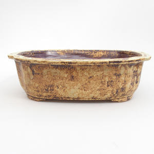 Ceramic bonsai bowl 25 x 21 x 7,5 cm, brown-yellow color