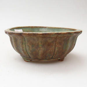 Ceramic bonsai bowl 11 x 11 x 4,5 cm, brown-green color
