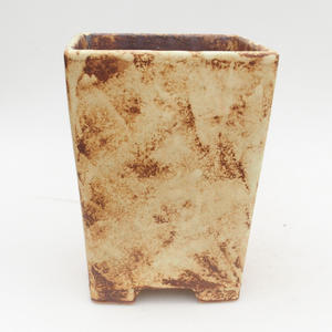 Ceramic bonsai bowl 2nd quality - 15 x 15 x 19 cm, brown-yellow color