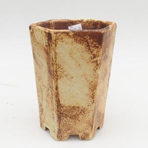Ceramic bonsai bowl 2nd quality - 13 x 11 x 17 cm, brown-yellow color