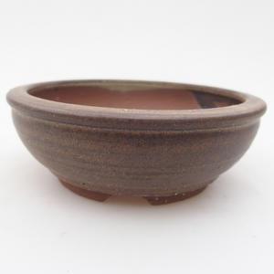 Ceramic bonsai bowl 10 x 10 x 3,5 cm, brown color