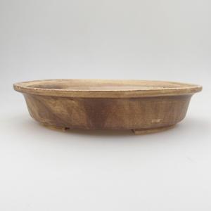Ceramic bonsai bowl 24 x 21 x 5 cm, brown-yellow color