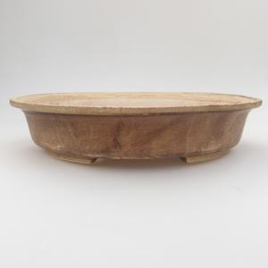 Ceramic bonsai bowl 24 x 21 x 5 cm, brown-beige color