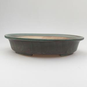 Ceramic bonsai bowl 24 x 21 x 5 cm, brown-green color