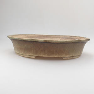 Ceramic bonsai bowl 29 x 25 x 6 cm, brown-green color