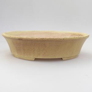 Ceramic bonsai bowl 21,5 x 18 x 5 cm, yellow color