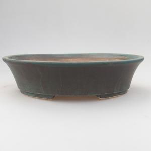 Ceramic bonsai bowl 21,5 x 18 x 5 cm, green-brown color