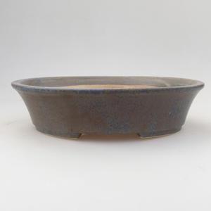 Ceramic bonsai bowl 21,5 x 18 x 5 cm, blue-brown color