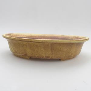 Ceramic bonsai bowl 20,5 x 18 x 4,5 cm, yellow-brown color