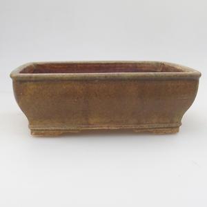 Ceramic bonsai bowl 17,5 x 14,5 x 5,5 cm, brown-green color