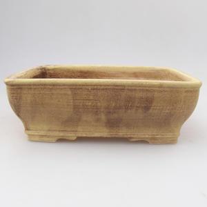 Ceramic bonsai bowl 17,5 x 14,5 x 5,5 cm, yellow-brown color