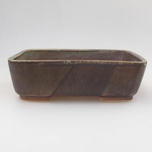 Ceramic bonsai bowl 18 x 15 x 5 cm, green-brown color