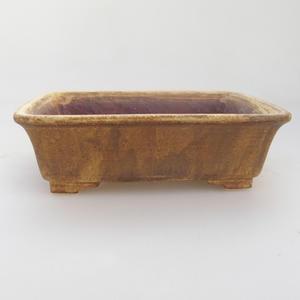 Ceramic bonsai bowl 17 x 14 x 5 cm, brown-yellow color