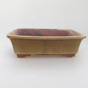 Ceramic bonsai bowl 17 x 14 x 5 cm, green-brown color