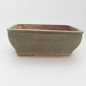 Ceramic bonsai bowl 15 x 12 x 5 cm, green-brown color