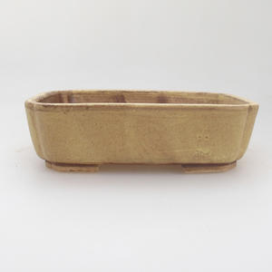 Ceramic bonsai bowl 17,5 x 14 x 5 cm, yellow color