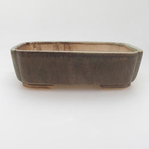 Ceramic bonsai bowl 17,5 x 14 x 5 cm, green-brown color