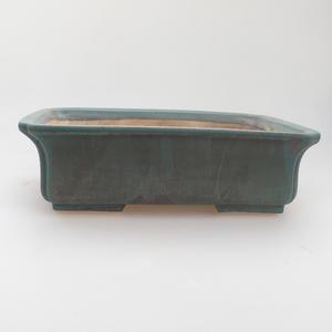Ceramic bonsai bowl 20 x 17 x 6,5 cm, green-brown color