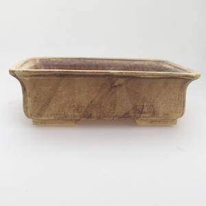 Ceramic bonsai bowl 20 x 17 x 6,5 cm, yellow-brown color