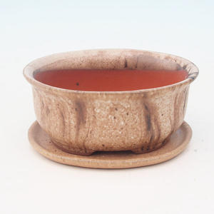 bonsai bowl and tray of water H 30, beige