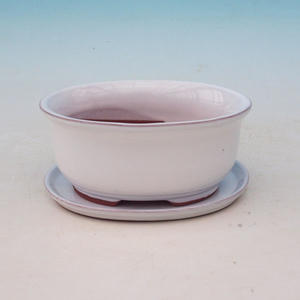 bonsai bowl and tray of water H 30, white