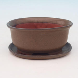 bonsai bowl and tray of water H 30, brown