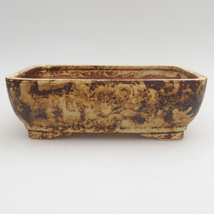 Ceramic bonsai bowl 21,5 x 16 x 7 cm, brown-yellow color