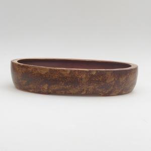 Ceramic bonsai bowl 26 x 20 x 5 cm, brown-yellow color