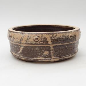 Ceramic bonsai bowl 14,5 x 14,5 x 6 cm, color beige-brown