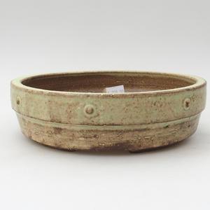 Ceramic bonsai bowl 18 x 18 x 5 cm, yellow color