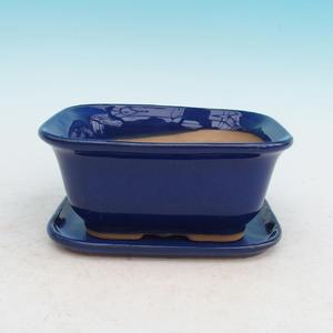 Bonsai bowl + tray H37 - bowl 14 x 12 x 7 cm, tray 14 x 13 x 1 cm, brown - bowl 14 x 12 x 7 cm, tray 14 x 13 x 1 cm