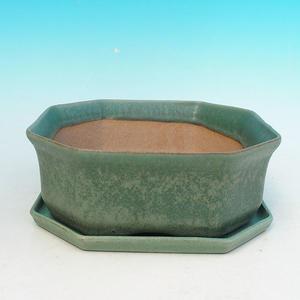 Bonsai bowl tray H14 - bowl 17,5 x 17,5 x 6,5, tray 17,5 x 17,5 x 1,5, blue - bowl 17,5 x 17,5 x 6,5, tray 17,5 x 17,5 x 1,5