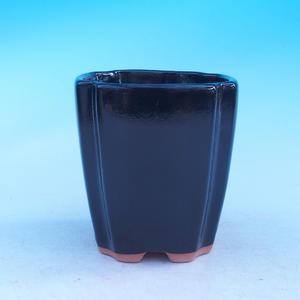 Ceramic bonsai bowl - cascade, black glossy