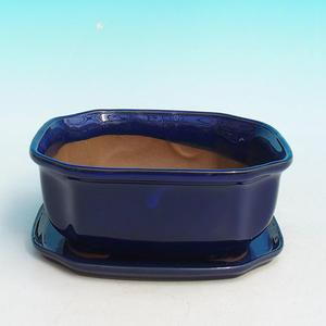 Bonsai bowl H31 - bowl 14,5 x 12,5 x 6 cm, bowl 14,5 x 12,5 x 1 cm, white - bowl 14,5 x 12,5 x 6 cm, tray 14,5 x 12,5 x 1 cm