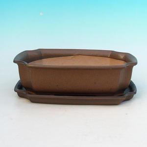 Bonsai bowl tray H03 - 16,5 x 11,5 x 5 cm, tray 16,5 x 11,5 x 1 cm, brown - 16,5 x 11,5 x 5 cm, tray 16,5 x 11,5 x 1 cm
