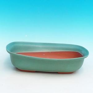Ceramic bonsai bowl H 10 - 37 x 27 x 10 cm, blue - 37 x 27 x 10 cm