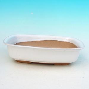 Ceramic bonsai bowl H 02, white