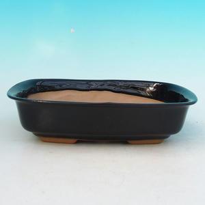 Ceramic bonsai bowl H 02, black
